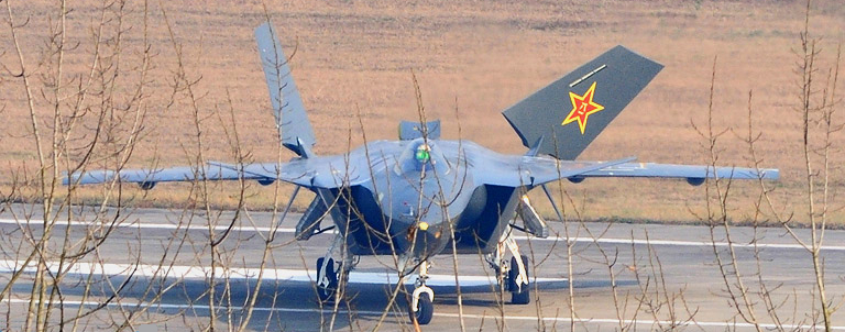 chengdu j 20 fighter. Head on view of the J-20